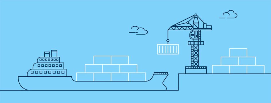 Crane lifting container with cargo ship on shipping port. Freight transport and logistics concept. Thin line art vector illustration.