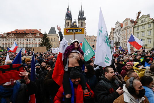 Protest against COVID-19 restrictions, in Prague