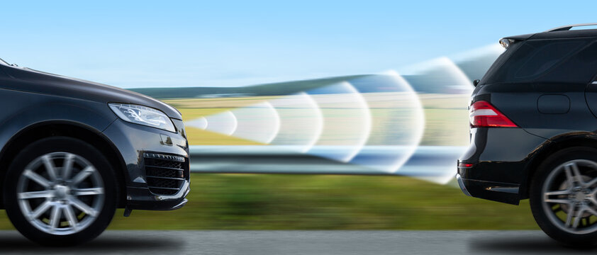 Car with adaptive cruise control radar.