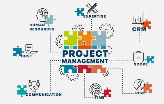 Project management concept. Infographics. Chart with keywords and icons. Project management vector illustration.