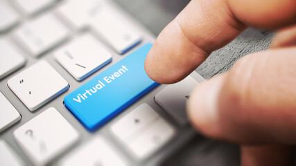 Obraz Virtual Event - White Keyboard with a Blue Keyboard Key. 3D. - fototapety do salonu