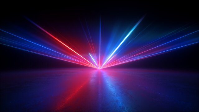 3d render, abstract background with red blue laser rays. Bright projector shining on the dark empty stage, neon light