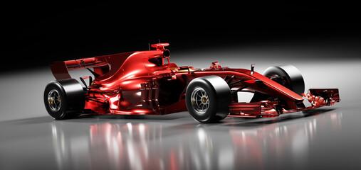 Fast red F1 car. Formula one racing sportscar.