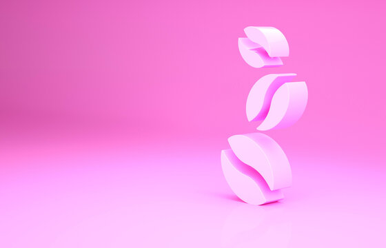 Pink Coffee beans icon isolated on pink background. Minimalism concept. 3d illustration 3D render.