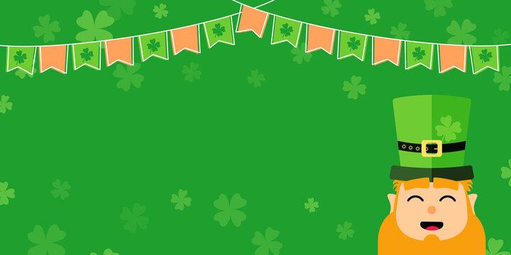 Corazón San Patricio fondo con duende, tréboles y banderines de Irlanda
