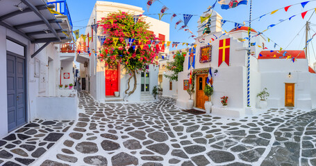 Mykonos, Greece. Panorama of the narrow streets of Mykonos town.