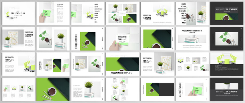Vector layouts of presentation design templates for brochure, cover design, flyer, book design, magazine, poster. Home office concept, study or freelance, working from home.
