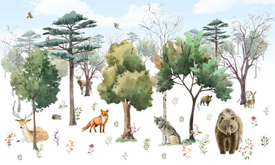 Fototapeta photo wallpapers for children. forest with animals. Watercolor obraz