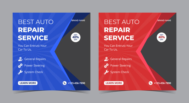 Best Auto Repair Services social media post and flyer