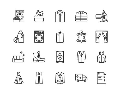 Dry cleaning flat line icon set. Laundry service symbol. Editable strokes.