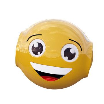 gelbes Roboter Emoticon mit lachendem Gesicht.