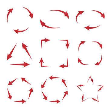 Red arrows cycle diagram in different shapes, flat vector illustration