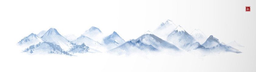 Landscape with blue mountains. Traditional oriental ink painting sumi-e, u-sin, go-hua. Translation of hieroglyph - eternity.