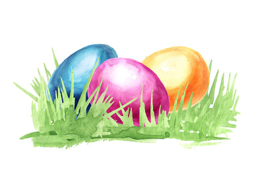 Colored Easter eggs in the green grass. Hand drawn watercolor illustration, isolated on white background