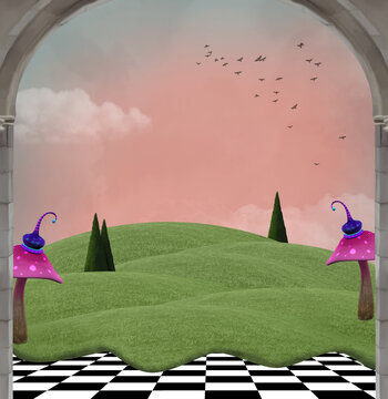 Surreal grassy hill with fantasy mushrooms