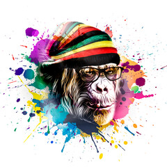 Colorful artistic rasta monkey's head on white background with colorful creative elements