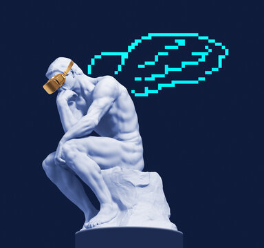 Sculpture of a thinker with virtual reality glasses and digital wings behind his back