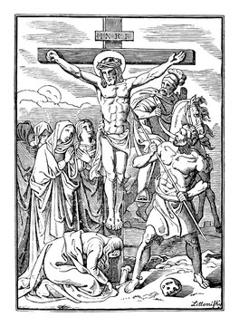 12th or twelfth Station of the Cross or Way of the Cross or Via Crucis. Jesus dies on the cross.Bible,New Testament.Antique vintage biblical religious engraving or drawing.