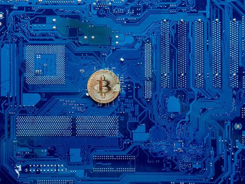 Bitcoin Coins on PC Concept