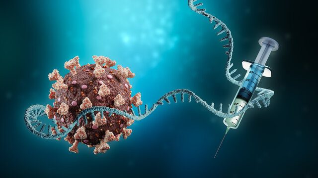 Coronavirus or sars-cov-2 virus cell with messenger RNA or mRNA and syringe on blue background 3D rendering illustration with copy space. Vaccination or vaccine, science, medical technology concept.