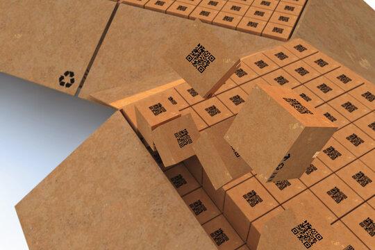 packaging service and parcels transportation system concept, cardboard boxes, 3D Render