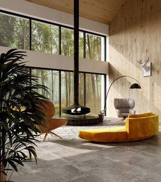 Modern interior of a country hunting lodge. 3D rendering