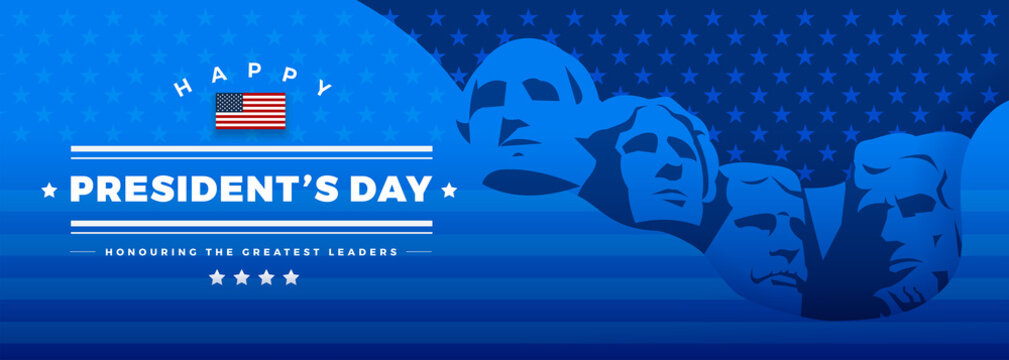 Presidents Day banner blue background vector illustration lettering Happy President's Day Rushmore USA presidents