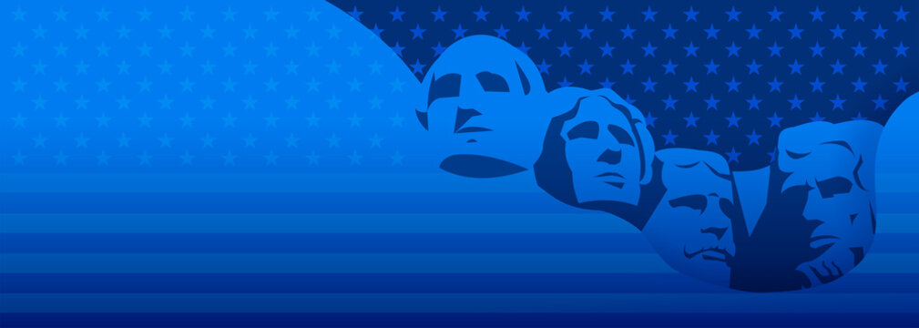 Presidents day background dark blue vector - USA Rushmore Presidents illustration, stars and stripes texture