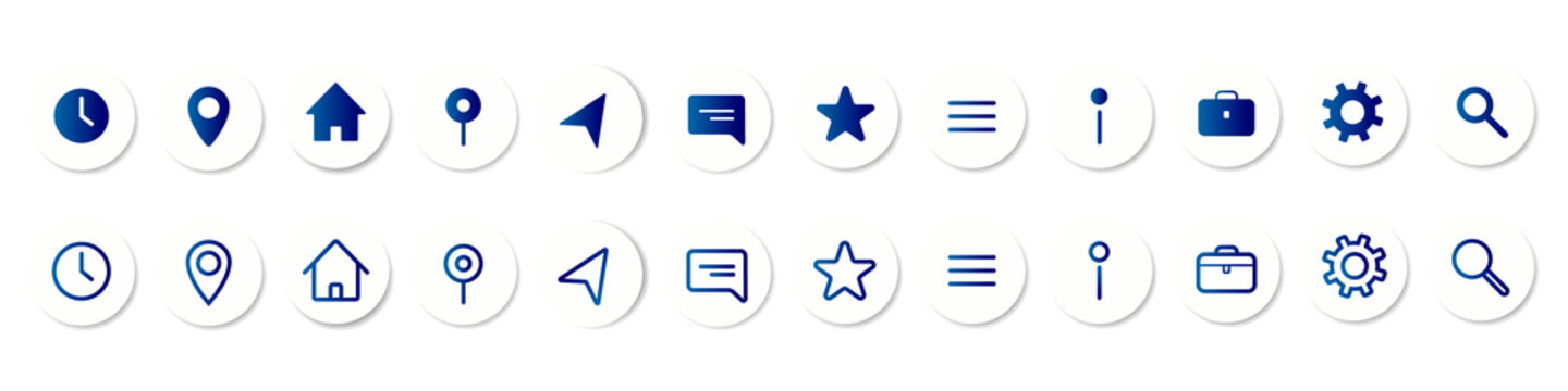 Set of vector icons with realistic shadow. UI icons for taxi app or any other mobile app. Vector illustration EPS 10