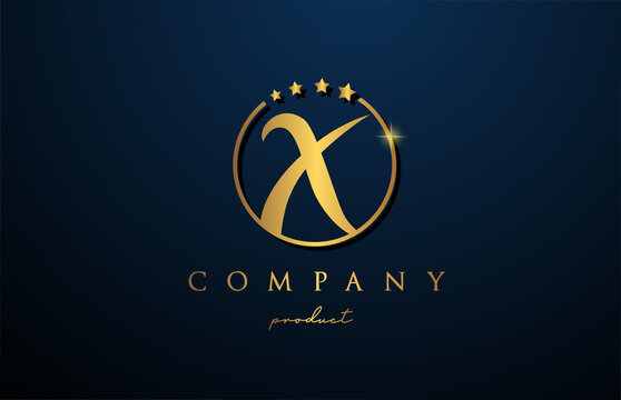 X luxury alphabet letter logo for corporate and company in gold colour. Golden star design with circle. Can be used for a luxury brand