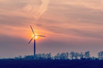 Obraz Silhouette Windmill On Field Against Sky During Sunset - fototapety do salonu