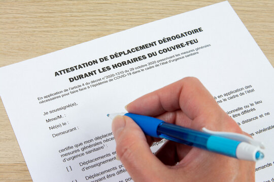 Attestation de déplacement dérogatoire pendant les horaires du couvre feu en France