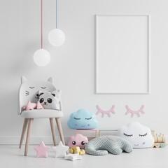 Mock up poster frame in children room,kids room,nursery mockup,White wall.