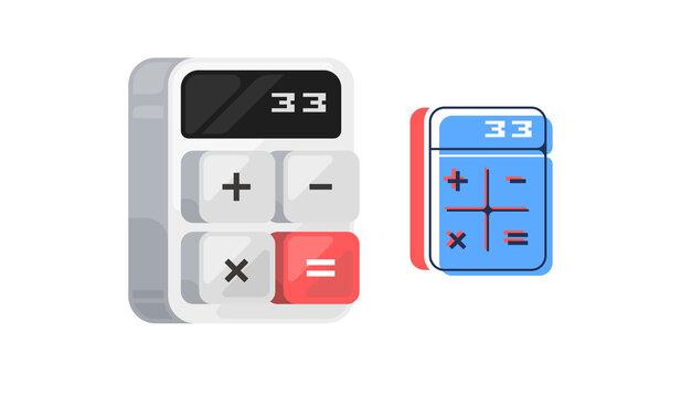 Calculator icon. Digital keypad math isolated device vector illustration.