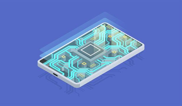 Quantum phone, big data processing, database concept. Digital chip, Modern hardware of smartphone, Isometric illustration.