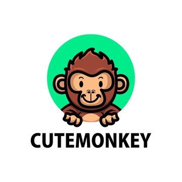 cute monkey cartoon logo vector icon illustration
