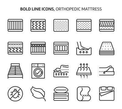 Orthopedic mattress, bold line icons