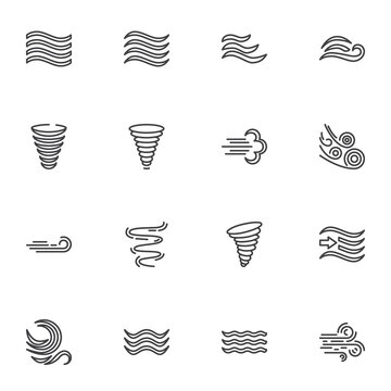 Weather wind line icons set, outline vector symbol collection, linear style pictogram pack. Signs, logo illustration. Set includes icons as meteorology, wind blow, hurricane tornado, fresh air waves