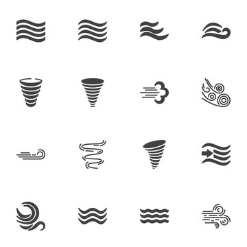 Weather wind vector icons set, modern solid symbol collection, filled style pictogram pack. Signs, logo illustration. Set includes icons as meteorology, wind blow, hurricane tornado, fresh air waves