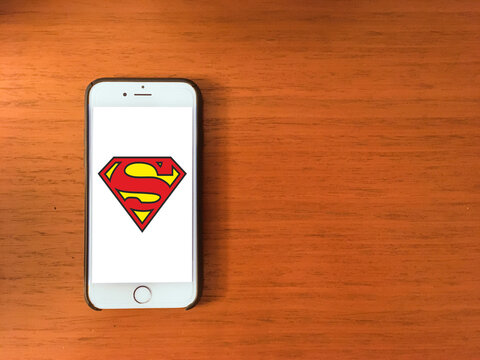 superman logo on mobile phone screen