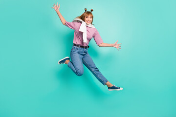 Wall Mural - Full body photo of young excited girl happy positive smile jump up wave hello tight jumper isolated over turquoise color background