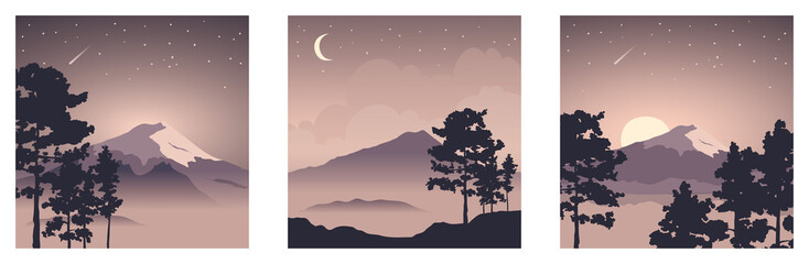 Abstract landscape with mount fuji / Vector illustration, three square background, starlight night, collection japanese landscape with pine trees in the foreground. EPS 10.