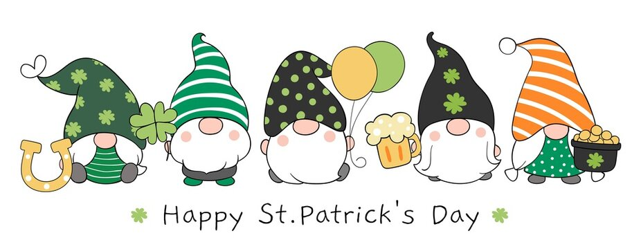 Draw banner design gnomes with Happy St Patrick's Day.