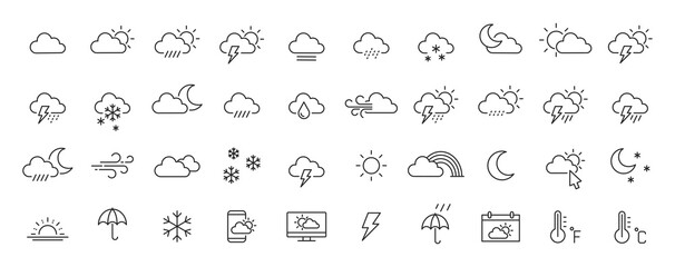 Fototapeta Set of 40 weather web icons in line style. Weather , clouds, sunny day, moon, snowflakes, wind, sun day. Vector illustration.