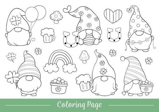 Draw illustration coloring page of cute gnome for St Patrick's day.