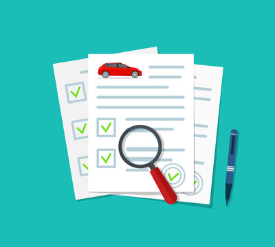 Car insurance document. Check auto on paper. Finance coverage after insurance. Icon of loan on car. Claim on vehicle. Certificate and licence for vehicle. Legal form of automobile contract. Vector
