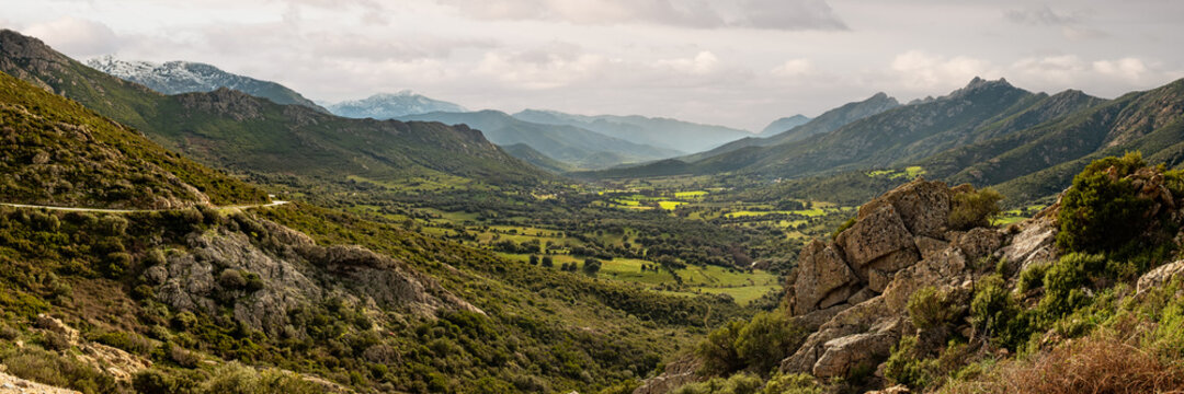 Lush green valley and mountains in Corsica