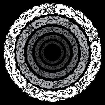 Ancient round Celtic, Scandinavian Design. Celtic knot, mandala, Celtic Dragons