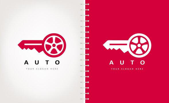 Car key logo vector. Tire and key design.