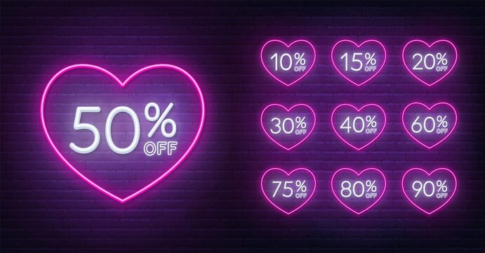 Valentine day discount neon design. 10, 15, 20, 30,40,50, 60, 75, 80, 90 percent off . Neon signs in a heart shape frame .